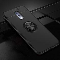 Coque Ultra Fine Silicone Souple Housse Etui avec Support Bague Anneau Aimante Magnetique pour Oppo Realme X Noir