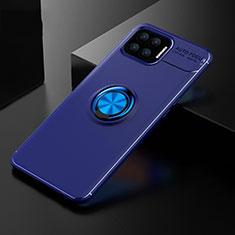 Coque Ultra Fine Silicone Souple Housse Etui avec Support Bague Anneau Aimante Magnetique pour Oppo Reno4 F Bleu