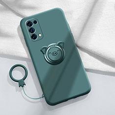 Coque Ultra Fine Silicone Souple Housse Etui avec Support Bague Anneau Aimante Magnetique pour Oppo Reno5 Pro 5G Vert Nuit