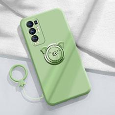Coque Ultra Fine Silicone Souple Housse Etui avec Support Bague Anneau Aimante Magnetique pour Oppo Reno5 Pro+ Plus 5G Pastel Vert