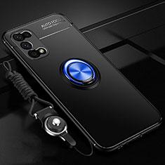 Coque Ultra Fine Silicone Souple Housse Etui avec Support Bague Anneau Aimante Magnetique pour Realme V5 5G Bleu et Noir