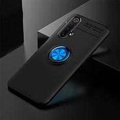 Coque Ultra Fine Silicone Souple Housse Etui avec Support Bague Anneau Aimante Magnetique pour Realme X3 Bleu et Noir