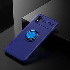 Coque Ultra Fine Silicone Souple Housse Etui avec Support Bague Anneau Aimante Magnetique pour Samsung Galaxy A01 Core Bleu