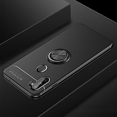 Coque Ultra Fine Silicone Souple Housse Etui avec Support Bague Anneau Aimante Magnetique pour Samsung Galaxy A11 Noir