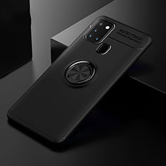 Coque Ultra Fine Silicone Souple Housse Etui avec Support Bague Anneau Aimante Magnetique pour Samsung Galaxy A21s Noir