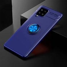 Coque Ultra Fine Silicone Souple Housse Etui avec Support Bague Anneau Aimante Magnetique pour Samsung Galaxy A42 5G Bleu