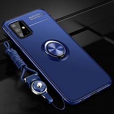 Coque Ultra Fine Silicone Souple Housse Etui avec Support Bague Anneau Aimante Magnetique pour Samsung Galaxy A51 4G Bleu