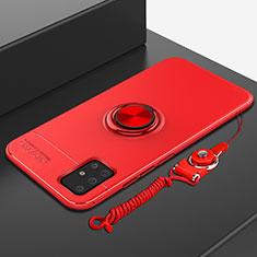 Coque Ultra Fine Silicone Souple Housse Etui avec Support Bague Anneau Aimante Magnetique pour Samsung Galaxy A51 5G Rouge