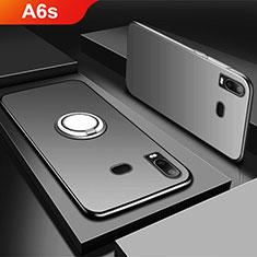 Coque Ultra Fine Silicone Souple Housse Etui avec Support Bague Anneau Aimante Magnetique pour Samsung Galaxy A6s Noir