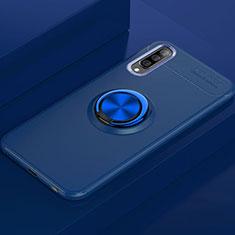 Coque Ultra Fine Silicone Souple Housse Etui avec Support Bague Anneau Aimante Magnetique pour Samsung Galaxy A70 Bleu