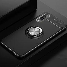 Coque Ultra Fine Silicone Souple Housse Etui avec Support Bague Anneau Aimante Magnetique pour Samsung Galaxy A70 Noir