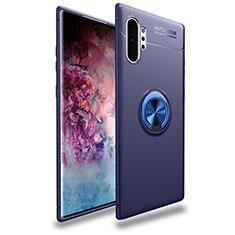 Coque Ultra Fine Silicone Souple Housse Etui avec Support Bague Anneau Aimante Magnetique pour Samsung Galaxy Note 10 Plus 5G Bleu