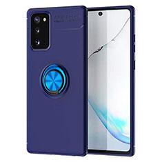Coque Ultra Fine Silicone Souple Housse Etui avec Support Bague Anneau Aimante Magnetique pour Samsung Galaxy Note 20 5G Bleu