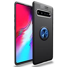 Coque Ultra Fine Silicone Souple Housse Etui avec Support Bague Anneau Aimante Magnetique pour Samsung Galaxy S10 5G SM-G977B Bleu et Noir