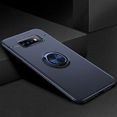 Coque Ultra Fine Silicone Souple Housse Etui avec Support Bague Anneau Aimante Magnetique pour Samsung Galaxy S10 Plus Bleu
