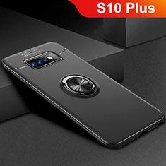 Coque Ultra Fine Silicone Souple Housse Etui avec Support Bague Anneau Aimante Magnetique pour Samsung Galaxy S10 Plus Noir