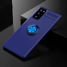 Coque Ultra Fine Silicone Souple Housse Etui avec Support Bague Anneau Aimante Magnetique pour Samsung Galaxy S20 FE 5G Bleu