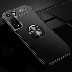 Coque Ultra Fine Silicone Souple Housse Etui avec Support Bague Anneau Aimante Magnetique pour Samsung Galaxy S21 Plus 5G Noir