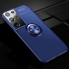 Coque Ultra Fine Silicone Souple Housse Etui avec Support Bague Anneau Aimante Magnetique pour Samsung Galaxy S21 Ultra 5G Bleu