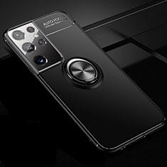 Coque Ultra Fine Silicone Souple Housse Etui avec Support Bague Anneau Aimante Magnetique pour Samsung Galaxy S21 Ultra 5G Noir