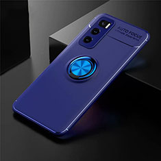 Coque Ultra Fine Silicone Souple Housse Etui avec Support Bague Anneau Aimante Magnetique pour Vivo V20 SE Bleu