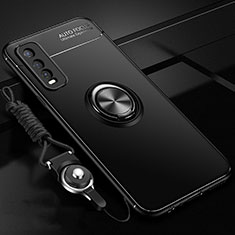Coque Ultra Fine Silicone Souple Housse Etui avec Support Bague Anneau Aimante Magnetique pour Vivo Y11s Noir