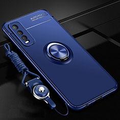 Coque Ultra Fine Silicone Souple Housse Etui avec Support Bague Anneau Aimante Magnetique pour Vivo Y12s Bleu