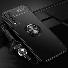 Coque Ultra Fine Silicone Souple Housse Etui avec Support Bague Anneau Aimante Magnetique pour Vivo Y20i India Noir