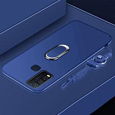 Coque Ultra Fine Silicone Souple Housse Etui avec Support Bague Anneau Aimante Magnetique pour Vivo Y50 Bleu