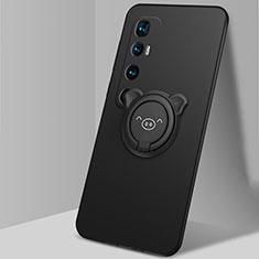 Coque Ultra Fine Silicone Souple Housse Etui avec Support Bague Anneau Aimante Magnetique pour Xiaomi Mi 10 Ultra Noir
