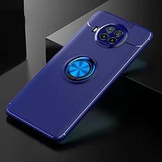 Coque Ultra Fine Silicone Souple Housse Etui avec Support Bague Anneau Aimante Magnetique pour Xiaomi Mi 10T Lite 5G Bleu