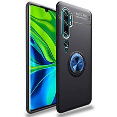 Coque Ultra Fine Silicone Souple Housse Etui avec Support Bague Anneau Aimante Magnetique pour Xiaomi Mi Note 10 Bleu et Noir