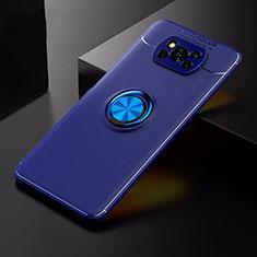 Coque Ultra Fine Silicone Souple Housse Etui avec Support Bague Anneau Aimante Magnetique pour Xiaomi Poco X3 NFC Bleu