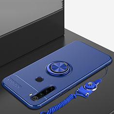 Coque Ultra Fine Silicone Souple Housse Etui avec Support Bague Anneau Aimante Magnetique pour Xiaomi Redmi Note 8 Bleu