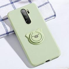 Coque Ultra Fine Silicone Souple Housse Etui avec Support Bague Anneau Aimante Magnetique pour Xiaomi Redmi Note 8 Pro Vert