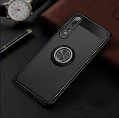 Coque Ultra Fine Silicone Souple Housse Etui avec Support Bague Anneau Aimante Magnetique S01 pour Huawei P20 Pro Noir