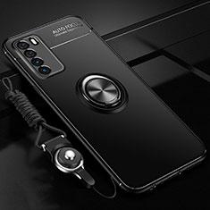 Coque Ultra Fine Silicone Souple Housse Etui avec Support Bague Anneau Aimante Magnetique T01 pour Huawei Honor Play4 5G Noir
