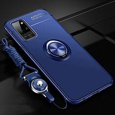 Coque Ultra Fine Silicone Souple Housse Etui avec Support Bague Anneau Aimante Magnetique T01 pour Huawei Honor Play4 Pro 5G Bleu