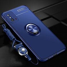 Coque Ultra Fine Silicone Souple Housse Etui avec Support Bague Anneau Aimante Magnetique T01 pour Huawei Honor X10 Max 5G Bleu