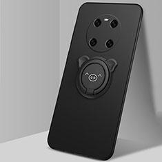 Coque Ultra Fine Silicone Souple Housse Etui avec Support Bague Anneau Aimante Magnetique T01 pour Huawei Mate 40 Noir