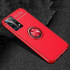 Coque Ultra Fine Silicone Souple Housse Etui avec Support Bague Anneau Aimante Magnetique T01 pour Huawei P40 Pro+ Plus Rouge