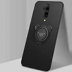 Coque Ultra Fine Silicone Souple Housse Etui avec Support Bague Anneau Aimante Magnetique T01 pour OnePlus 7T Pro Noir