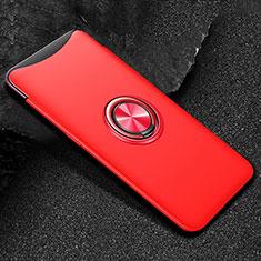 Coque Ultra Fine Silicone Souple Housse Etui avec Support Bague Anneau Aimante Magnetique T01 pour Oppo Find X Rouge