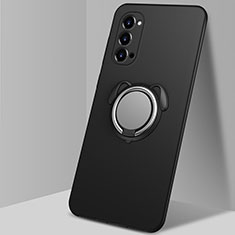 Coque Ultra Fine Silicone Souple Housse Etui avec Support Bague Anneau Aimante Magnetique T01 pour Oppo Reno4 Pro 5G Noir