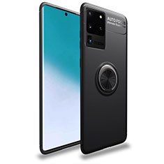 Coque Ultra Fine Silicone Souple Housse Etui avec Support Bague Anneau Aimante Magnetique T01 pour Samsung Galaxy S20 Ultra 5G Noir