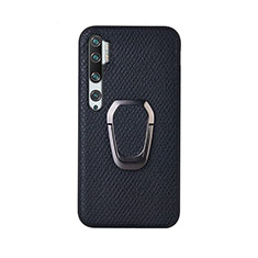 Coque Ultra Fine Silicone Souple Housse Etui avec Support Bague Anneau Aimante Magnetique T01 pour Xiaomi Mi Note 10 Noir