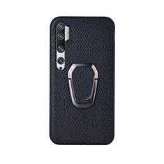 Coque Ultra Fine Silicone Souple Housse Etui avec Support Bague Anneau Aimante Magnetique T01 pour Xiaomi Mi Note 10 Pro Noir