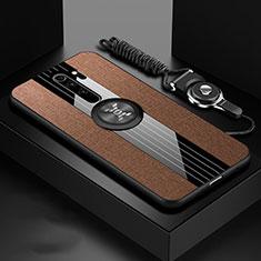 Coque Ultra Fine Silicone Souple Housse Etui avec Support Bague Anneau Aimante Magnetique T01 pour Xiaomi Redmi Note 8 Pro Marron
