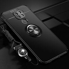 Coque Ultra Fine Silicone Souple Housse Etui avec Support Bague Anneau Aimante Magnetique T01 pour Xiaomi Redmi Note 9 Noir