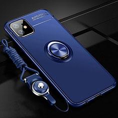 Coque Ultra Fine Silicone Souple Housse Etui avec Support Bague Anneau Aimante Magnetique T02 pour Apple iPhone 11 Bleu